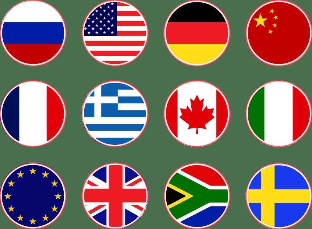 babysitter bilingue :  une image qui comporte des drapeaux de pays