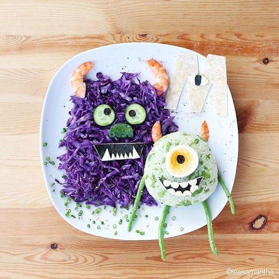 aliments présentés de façon ludique, sous forme de monstres rigolos pour enfant