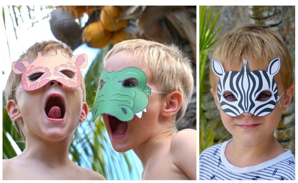 enfants qui portent des masques d'animaux