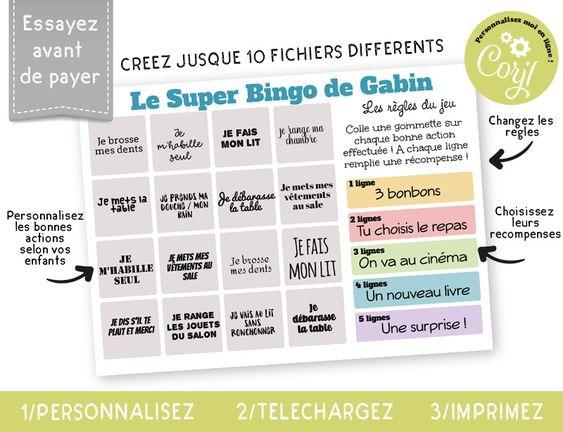 bingo bonnes actions pour enfant