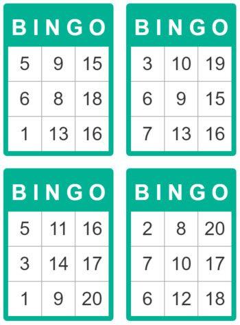 bingo de 1 à 20 pour enfant