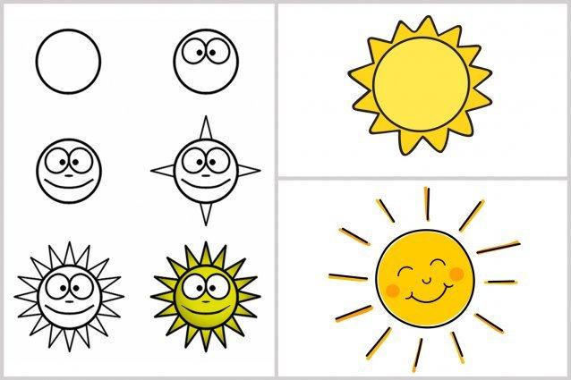 dessins faciles : aide l'enfant  à apprendre à dessiner : étapes pour dessiner un soleil