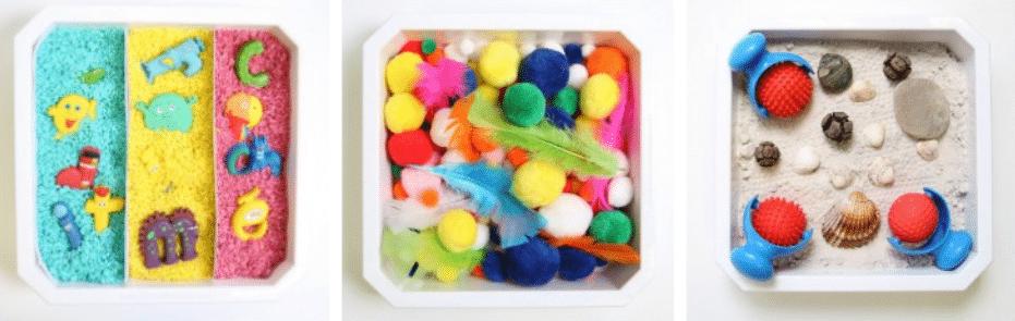 bac sensoriel :  3 différents modèles proposés par la marque de jouets Hoptoys