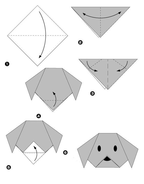 Chien origami à réaliser avec les enfants