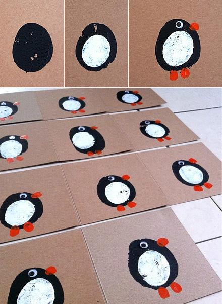 une carte faite à partir d'une moitié de patate et qui donne un super joli pingouin