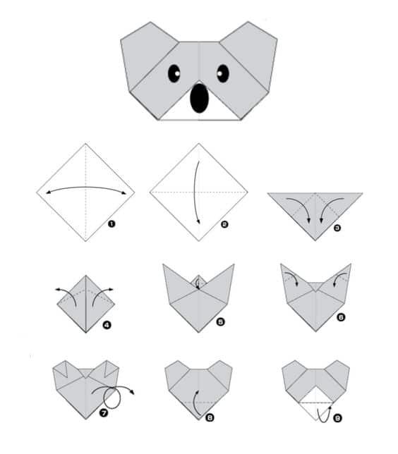 Origami pour enfants : un Koala