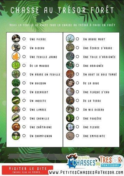environnement : liste des éléments à ramasser pendant la chasse au trésor