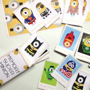 activités à faire avec les enfants : jeu de Memory super minion