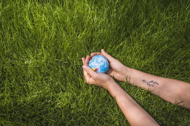 la protection de l'environnement : une personne tenant un mini globe entre les mains